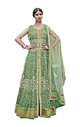 Fancy Parrot Green Embroidered Anarkali Suit
