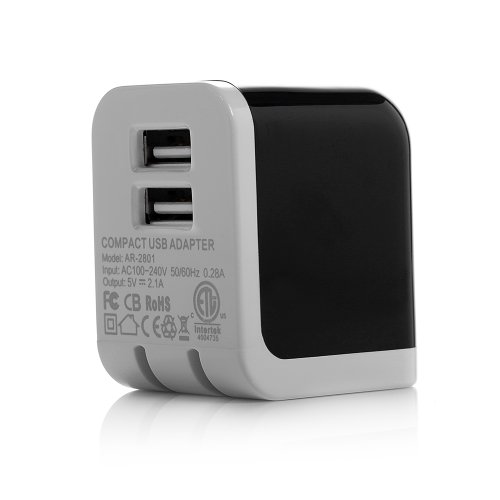 Poweradd™ Universal Dual Usb Port Adapter Power Wall Charger Portable Travel Charger For Iphone, Ipad, Android Cell Phone, Tablets And More Other Usb-Charged Devices(Black)