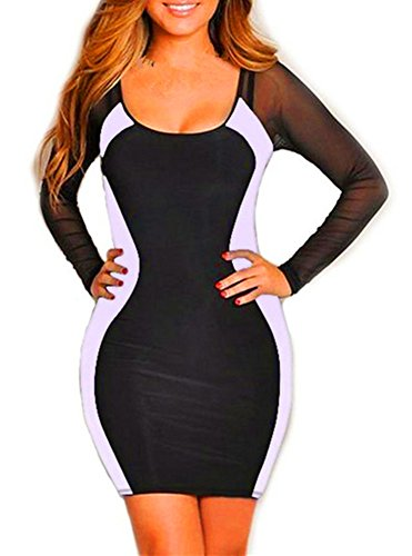 Women'S Black-White Mesh Hourglass Long Sleeves Cocktail Evening Mini Dress (Us Xs, Black-White)