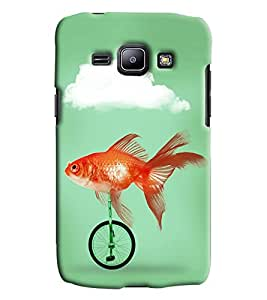 Blue Throat Fish Riding Bicycle Printed Designer Back Cover/ Case For Samsung Galaxy J1