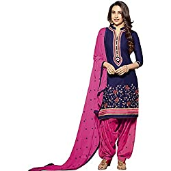pakiza design new purple pink cotton partywear semi-stitched salwar suit dress material
