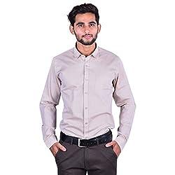 CORTOS Beige Cotton Matt Other Regular fit formal Solid Shirt (Size: X-Large)