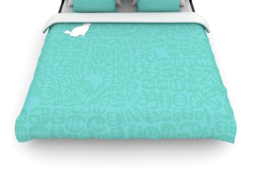 "Kess Inhouse Theresa Giolzetti ""Oliver Teal"" 88 By 104-Inch Woven Duvet Cover, King front-937244"