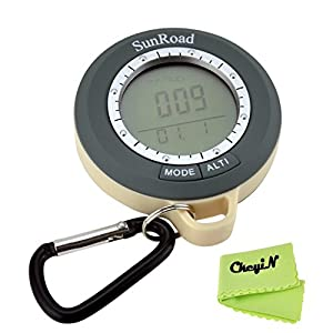 Ckeyin 6 in 1 Digital Altimeter with altitude history, Barometer, Compass, Thermometer, Weather Forecaster with digital clock