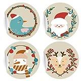 24 süße Weihnachts Aufkleber mit Weihnachtsmann
