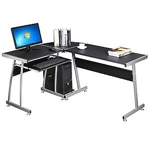 Popamazing Large L Shape Corner Computer PC Desk Table Workstation Home Office Furniture Black