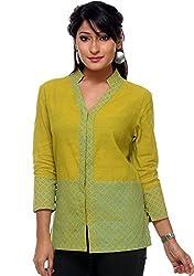 9Rasa Cotton Hand Block Printed Collared Shirt