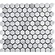 "White Carrara 1"" Hexagon HONED Mosaic Tile Meshed on 12x12 Sheet - LOT of 45 SHEETS"