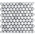 """White Marble 1"""" Hexagon HONED Mosaic Tile Meshed on 12x12 sheet"""