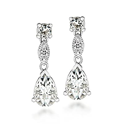 Carissima 9ct White Gold 0.02ct Diamond and Aquamarine Drop Earrings