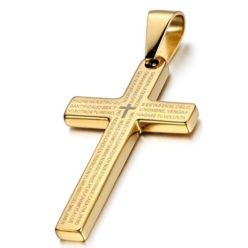 Flongo Edelstahl Anhänger Halskette Gold Kreuz Bibel Lords Prayer Poliert Herren ,mit 54cm Kette