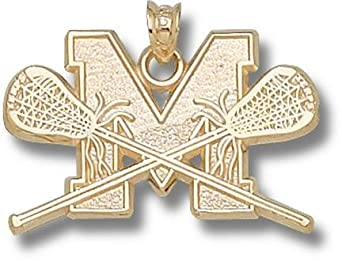 Maryland Terrapins M Lacrosse Sticks Pendant - 14KT Gold Jewelry by Logo Art