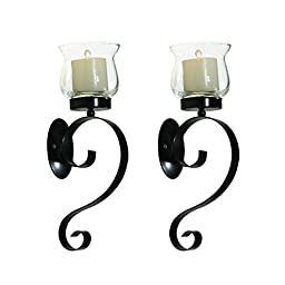 DecentHome Iron Vertical Candle Tealight Pillar Holder Wall Sconce, Antique Vintage Style, Set of Two