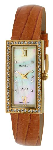 Peugeot+Women%27s+PQ8840-OA+Gold-Tone+Swarovski+Crystal+Accented+Tan+Leather+Strap+Watch