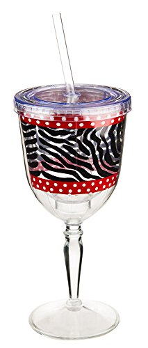 Zebra And Red Insulated Acrylic Stemmed Glass With Straw front-988748
