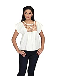 lol cream Color Plain Casual Top for women