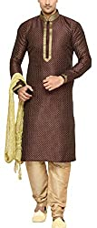 Indian Poshakh Mens Silk Sherwani (1187_36, 36, Brown and Beige)