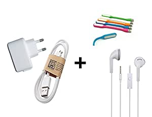 Combo Offer Mobile Charger Compatible with all Smartphone Plus Headset 3.5MM and One LED Light Lamp ( Color May Vary)