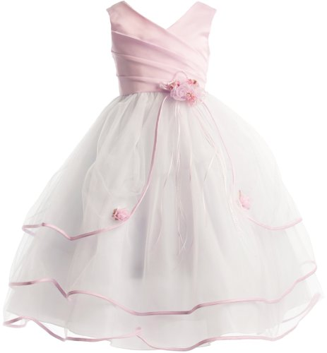 3-Tiered Organza Satin Pageant Holiday Flower Girl Party Dress - Pink 8