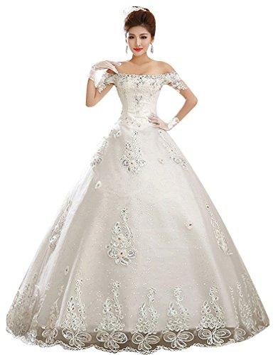 120ac918afb2 Eyekepper Flat Shoulder Bead Floor Length Bridal Gown Wedding Dress Bride  Custom Size