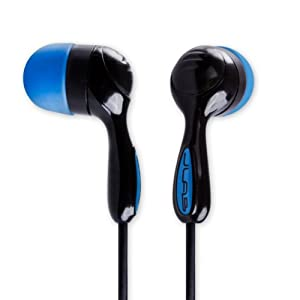JBuds Hi-Fi Noise-Reducing Earbuds Style Headphones (Black / Electric Blue)