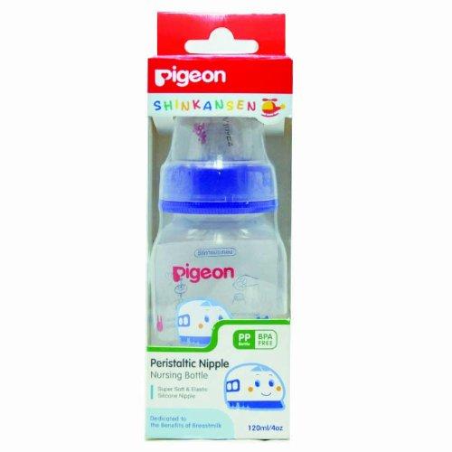 New Pigeon Shinkansen Baby Feeding Bottles with Peristaltic Nipples BPA Free 120/240 ml (120 ml / 4oz)