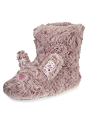 Faux Fur Bunny Boot Slippers