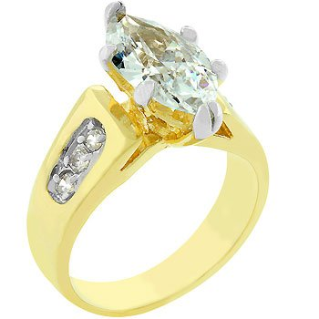Rhodium and 14K Gold Plated Cubic Zirconia Prong Set Anniversary Ring in Size 8