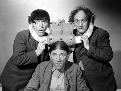 The Three Stooges (Moe, Larry, Shemp) in a western-themed publicity photo - Pals and Gals—starring the Three Stooges—Moe, Larry, Shemp (1954)