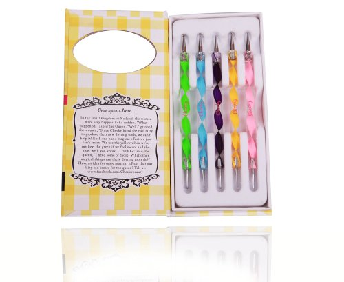 Nail Art Dotting Tools / Dotting Pens- Set of 5 Double Ended Nail Art Dotting and Marbling Tools for Manicure and Pedicure with 10 Different Dotting Sizes