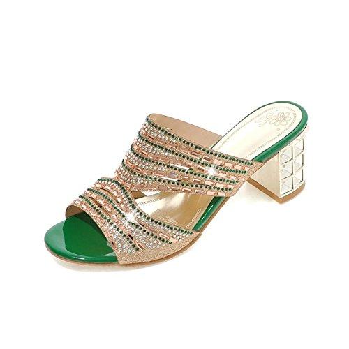 Signore adatta i sandali e ciabatte parola slittamento/Cava diamante di massima con i sandali a tacco alto-B Lunghezza piede=24.8CM(9.8Inch)