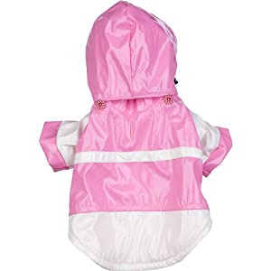 Pet Life Two-Tone PVC Raincoat in Pink & White - Small