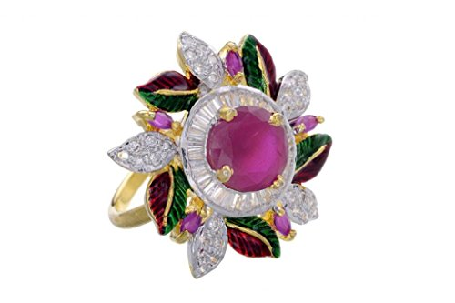AD STONE STUDDED ROYAL ELEGANT FLOWER THEME ADJUSTABLE SIZE FINGER RING (AD RED GREEN) -PCR9024 (multicolor)