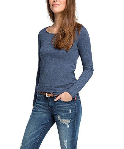 edc by ESPRIT Damen Langarmshirt Basic, Gr. 38 (Herstellergröße: M), Blau (NAVY 400)