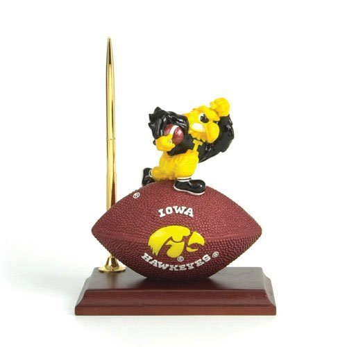 NCAA Iowa Hawkeyes Team Spirit Mascot Football Clock and Pen Desk Set