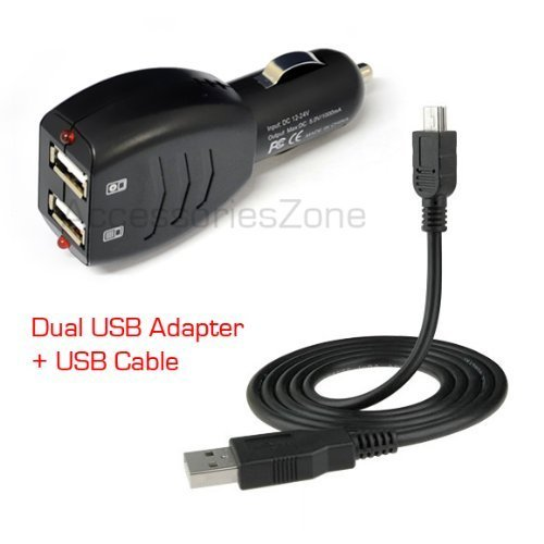 HPF (TM) Dual Ports USB Car Charger Adapter with USB Charging Data Cable For Plantronics Voyager 815 855 975 / Voyager Pro / Exporer 220 230 240 370 395 390 360 / Discovery 925 Bluetooth