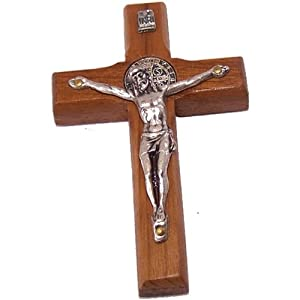 "St. Benedict Wooden wall / glass / car / Refrigerator. Crucifix with stickers - thick (7cm or 2.76"") - imported"