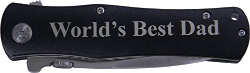 World's Best Dad Folding Pocket Knife - Great Gift for Father's Day, Birthday, or Christmas Gift for Dad, Grandpa, Grandfather, Papa, Husband (Black Handle)