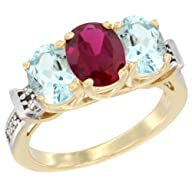 10K Yellow Gold Enhanced Ruby & Aquam…