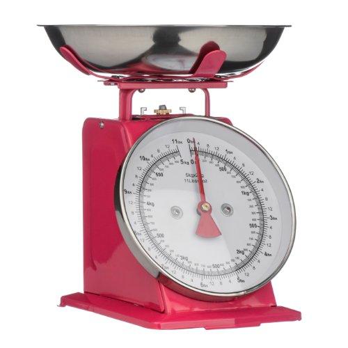 Premier Housewares Balance de cuisine style rétro Bol en inox Rose 5 kg