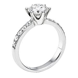 GIA Certified 14k white-gold Round Cut Diamond Engagement Ring (0.70 cttw, G Color, SI1 Clarity)