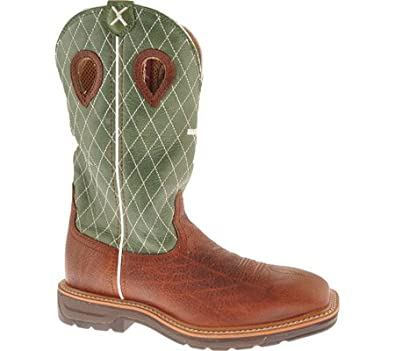 Twisted X Boots Men's MLCW002 Casual Shoes,Cognac Glazed Pebble/Lime Leather,7 D US