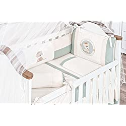 Bear Themed Green Baby Boy 10 Pcs Nursery Crib Bedding Set Embroidered
