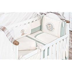 Bear Themed Green Baby Boy 10 Pcs Nursery Crib Bedding Set Embroidered