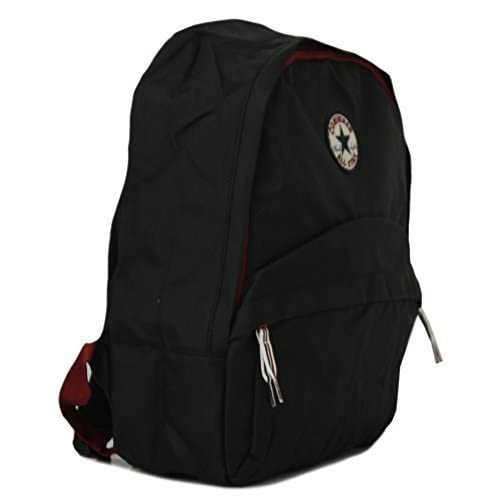New Unisex Black Converse Polyester Traditional Twin Strap Backpacks. - Black Red - UK SIZES 1-1