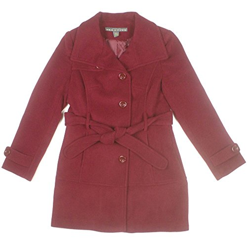 Kenneth Cole Reaction Womens Belted Wool Pea Coat Medium Ruby Red