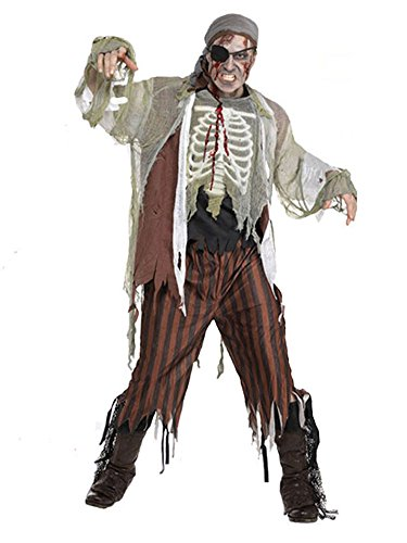 SaiDeng Men Zombie Ghost Pirate Halloween Costume Party Outfit