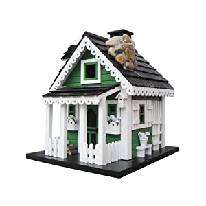 Home Bazaar Greenacres Birdhouse, Green/White/Black