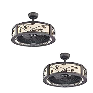of 2 Allen & Roth Eastview 23-in Aged Bronze Downrod Mount Ceiling Fan ...