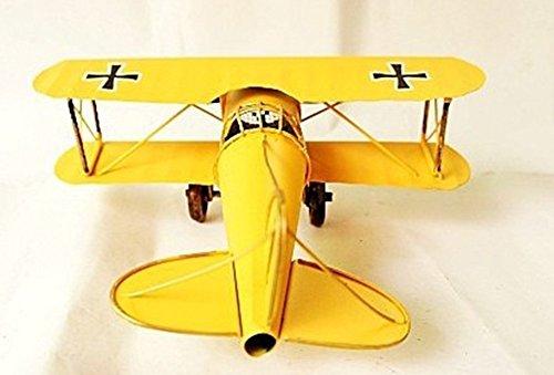 Berry President® Vintage / Retro Wrought Iron Aircraft Handicraft - Metal Biplane Plane Aircraft Models -The Best Choice for Photo Props/christmas Gift/home Decor/ornament/souvenir Study Room Desktop Decoration (Yellow)